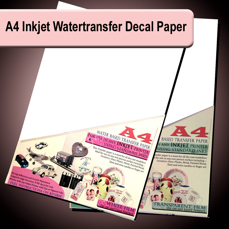 A4 Inkjet Water Slide Decal Paper WaterSlide Waterbased Transfer Paper Transparent Or White 5 /10/20 Sheets Pack
