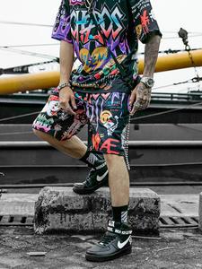 Aolamegs Shorts Men Sweatpants Bermuda Graffiti Print Summer High-Street Elastic-Waist