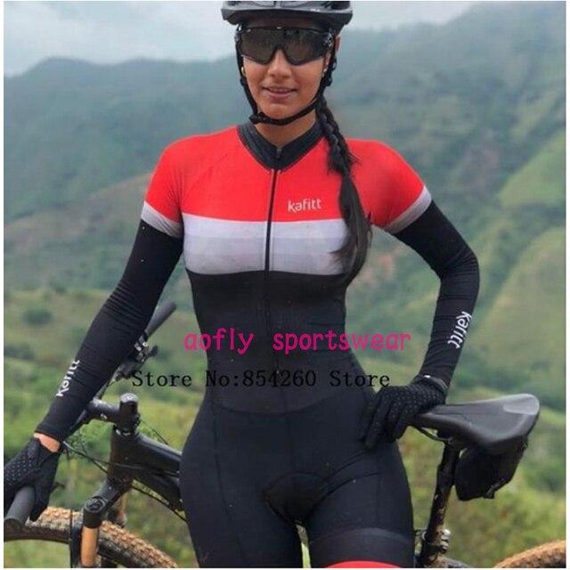 Rosa de manga longa camisa ciclismo skinsuit 2020 mulher ir pro mtb bicicleta roupas opa hombre macacão gel almofada skinsuit 4