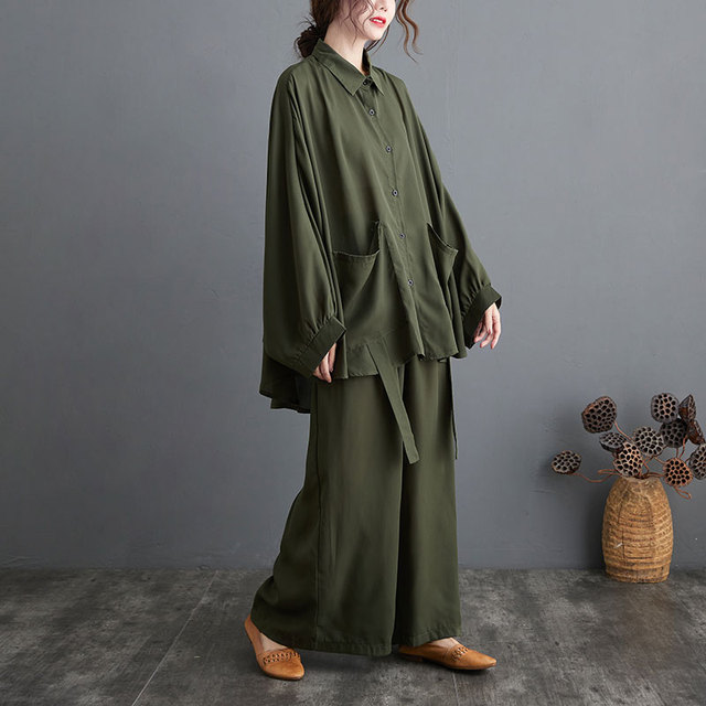 Two Piece Set Casual  Shirts Pockets Loose Long Pants Oversized  6