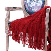Battilo Stricken Diamant Muster Solide Weiche Sofa Couch Dekorative Decke