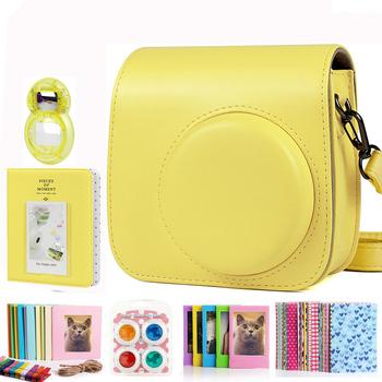Fujifilm Instax Mini 9 8 + 8 pakiet akcesoriów do aparatu zestaw pokrowiec na torbę na ramię Album fotograficzny ramka filmowa filtry zestaw obiektywów Selfie tanie i dobre opinie CAIUL BŁYSKAWICZNY APARAT FOTOGRAFICZNY CN (pochodzenie) torby na ramię Torebki na aparat yellow instax mini 9 8 camera case bundle