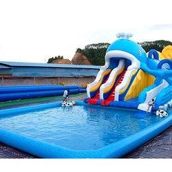 Riesen cartoon freizeitpark aufblasbare spielzeug große schwimmen pool mit lange rutsche