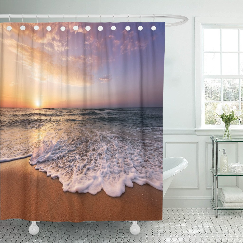 Sunset Beautiful Tropical Sunrise Beach Cancun <font><b>Durban</b></font> Myrtle Aruba Shower Curtain Polyester 60 x 72 inches Set with Hooks image