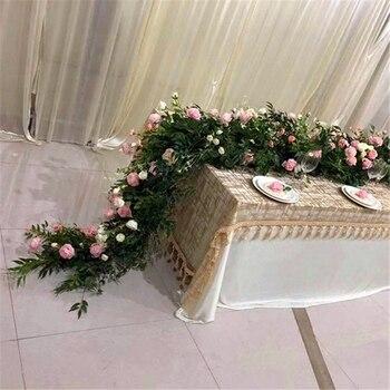 DIY 2,5 м свадебная настольная дорожка цветочный фон ива пион шлейф ряд цветов вечерние поставки искусственный ряд цветов