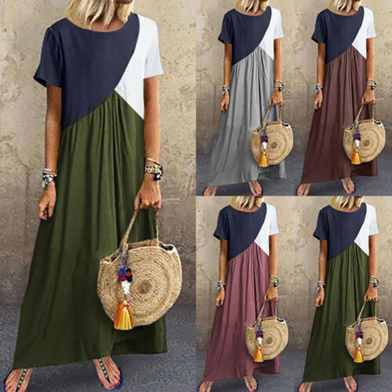 Moxeay Plus Size Patchwork Dress 5xl Size Zanzea Kaftan Dress Vintage Women Cotton Linen Loose Long Dress With Pockets Spring in Dresses from Women 39 s Clothing