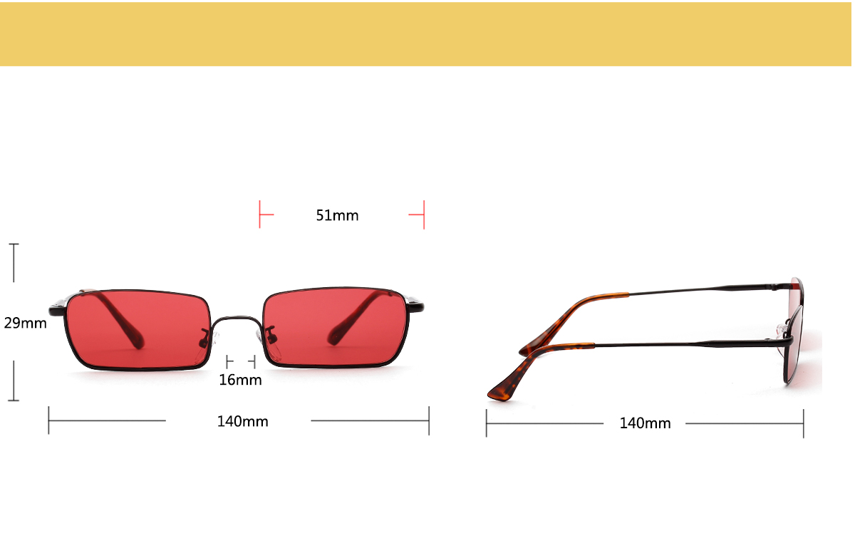 small square sunglasses metal frame for driver men women