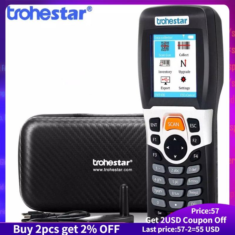 Беспроводной сканер штрих-кода Trohestar 1D 2D, считыватель штрих-кода, счетчик данных, сборщик данных, КПК, QR-сканеры, lecodiitor Go barras сканер сканер штр...