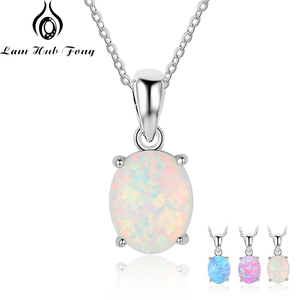 Women 925 Sterling Silver Pendant Necklaces Created Oval White Pink Blue Opal Necklace Birthday Gifts for Wife (Lam Hub Fong)(China)
