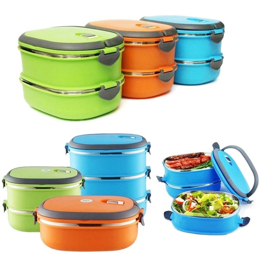 1/2/3 Layer Rectangle Stainless Steel Thermal Lunch Box Food Storage Container image