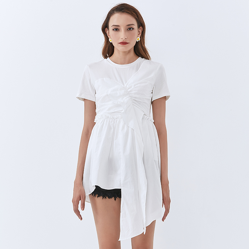 TWOTWINSTYLE Patchwork Ruffle Women Tops O Neck Short Sleeve High Waist Irregular Hem White T Shirt Female Fashion New Tide 2020