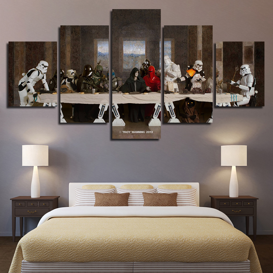 Wall Art Poster Modular Pictures Star Wars The Last Supper Printed Abstract Canvas Painting Home Decoration Living Room Framed image