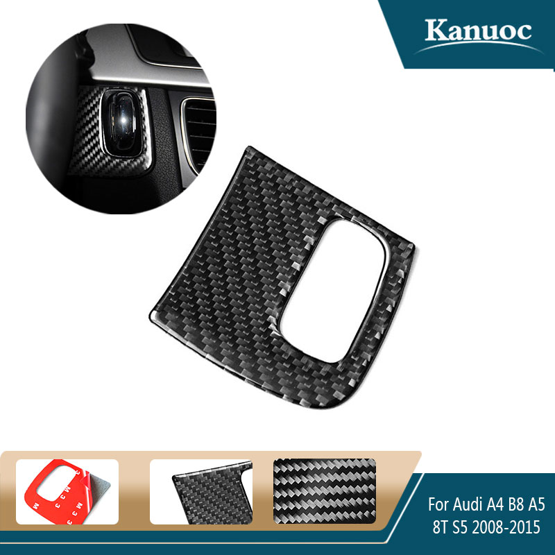 Car Engine Start Key Frame Cover Trim Decorative 3D stickers For Audi A4 A5 B8 8T S5 2008-2015 Carbon Fiber styling