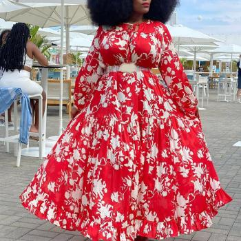 4xl 5xl Plus Size African Dress Women Red Floral Print Long Sleeve Floor Length Large Elegant Evening Party Vestidos Dress Maxi plus size long maxi dress elegant print party dress polka dot dress women spring short sleeve dress ladies big size dress 5xl