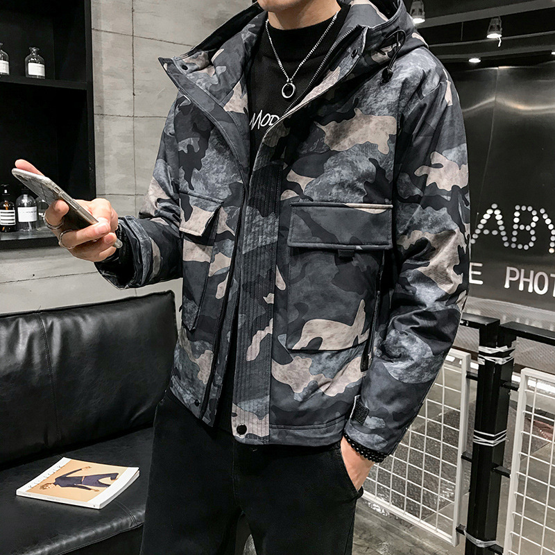 2019 automne et hiver nouveauté à capuche courte Camouflage doudoune britannique mince poche décorative coton veste livraison gratuite