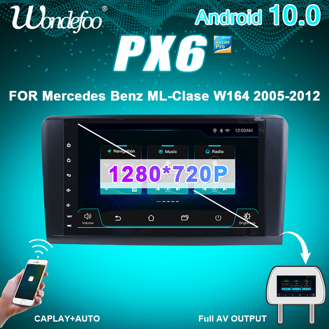 PX6 car stereo 1 DIN android car radio For Mercedes Benz ML GL W164 ML350 ML500 GL320 X164 ML280 GL350 GL450 auto audio screen
