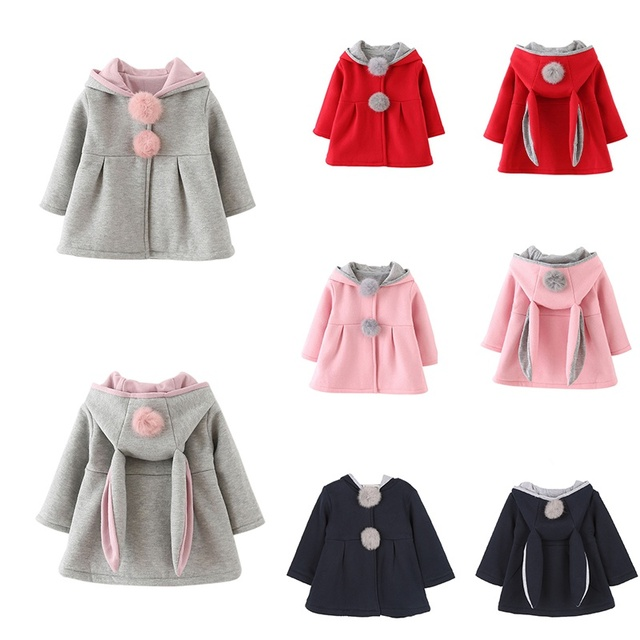 Baby Girls Coat Winter Spring Baby Girls Princess Coat Jacket Rabbit Ear Hoodie Casual Outerwear for girl Infants clothing 1