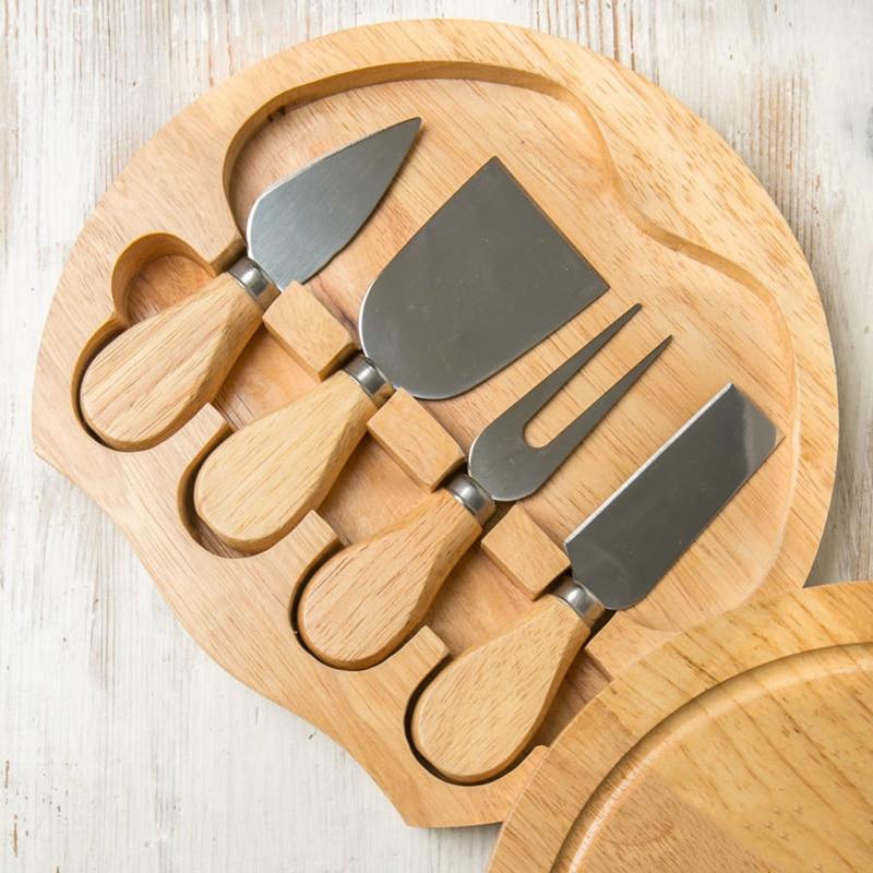 Набор из 4 ножей для сыра, столовые приборы для сыра, нержавеющая сталь, резак для сыра, мини-нож с деревянной ручкой, нож для масла, лопатка и ...