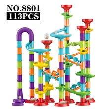 113/45 pçs diy montagem de mármore edifício competição pista bloco de construção conjunto crianças pop-up slide labirinto bola de rolamento brinquedo presente