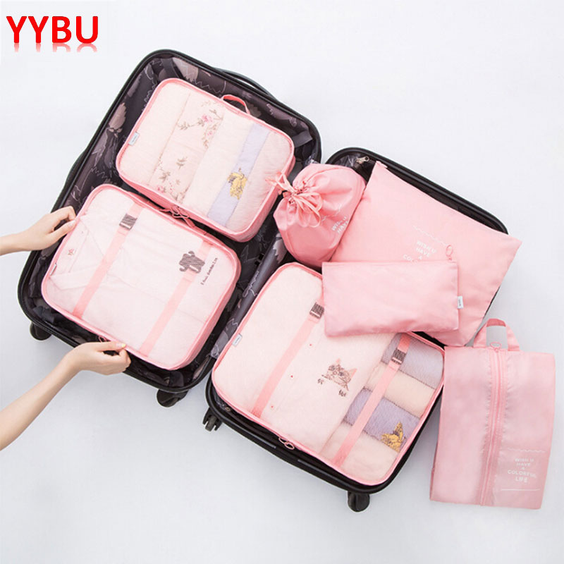 YYBU 7 Pieces Travel Storage Bag Set Clothing Handbag Bags for Shoe Portable Digital Organizer