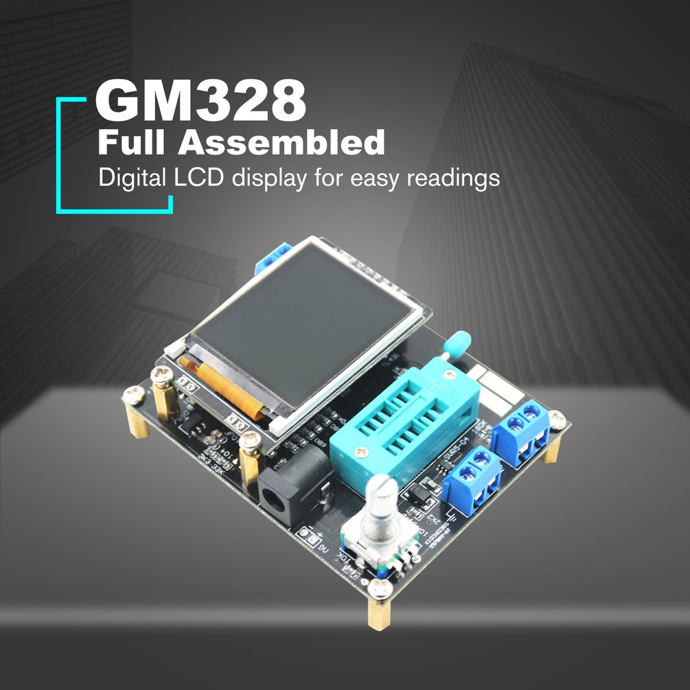 GM328 Full Assembled Transistor Tester LCR Diode Capacitance ESR meter PWM Square wave Frequency Signal Generator