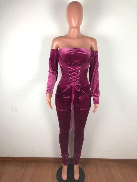 Echoine Sexy Off Shoulder Bandage Grommet Jumpsuit Women Velvet Skinny Rompers Party Club Outfits Playsuit Pocket Overalls Red 5