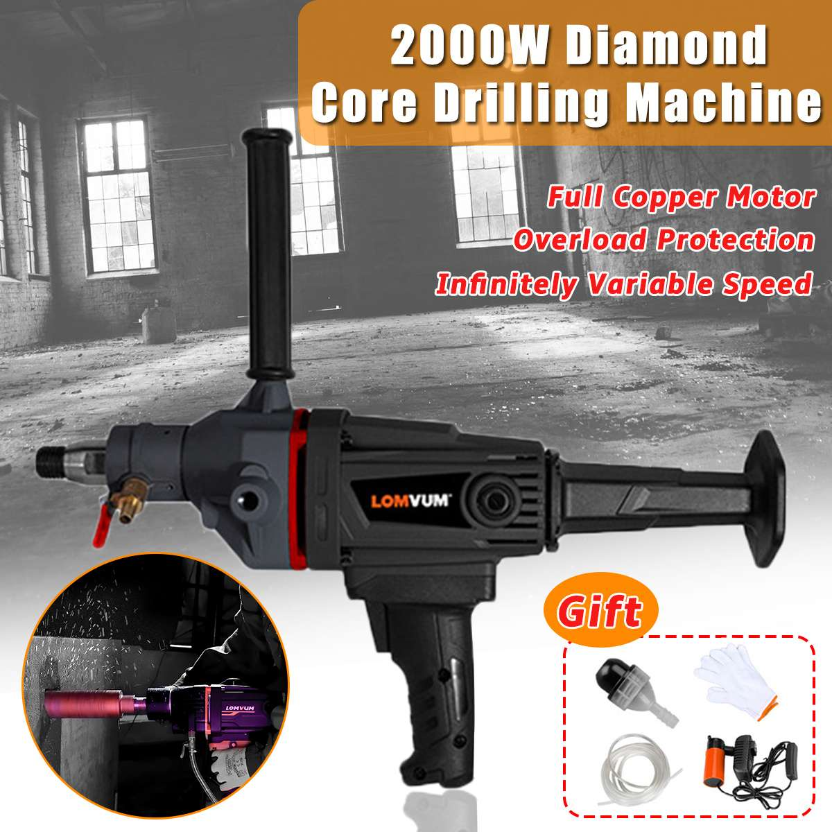 220V 2000W 180mm Diamond Core Drill Dry Wet Handheld Concrete Core Drilling Machine With Drill Bit Water Pump Accessories