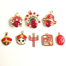 Chinese style character cartoon character earring settings pendant handmade for DIY Craft Jewelry 4pcs