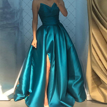 Sexy Evening Dress 2020 V-Neck High Split Satin A-Line Prom Gown Custom Made Pleats Long Formal Gown Plus Size Party Dress dress free shipping 2013 open leg custom size color sexy evening formal prom gown sweet beauty pageant ruffle dress new high low