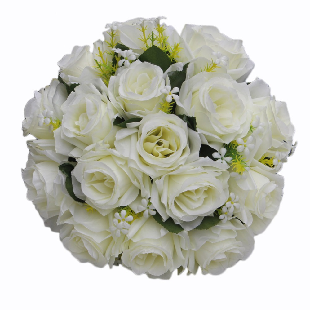 Artificial Wedding Rose Flowers White Holding Bouquet Fleur Artificielle Handmade Satin Romantic Pure Bridal Bouquets FW2019A
