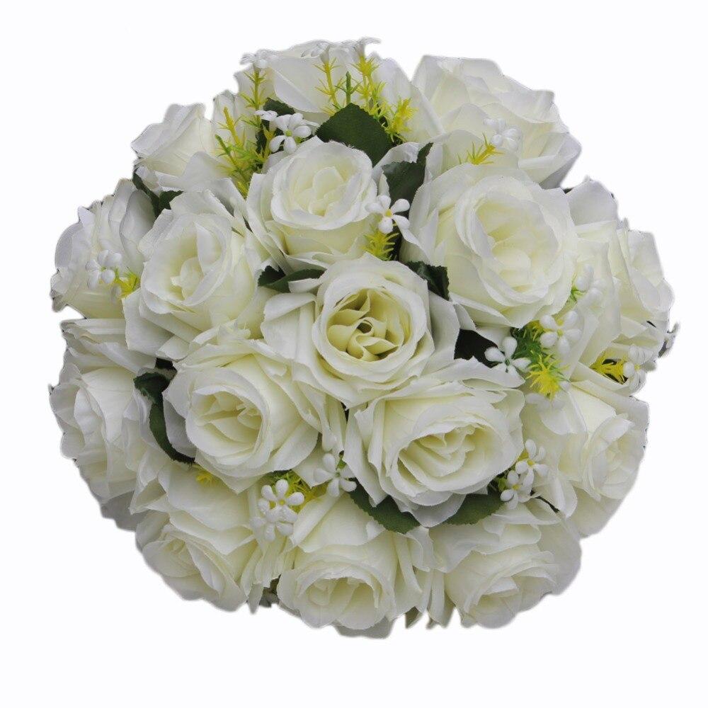 Artificial Wedding Rose Flowers White Holding Bouquet Fleur Artificielle Handmade Satin Romantic Pure Bridal Bouquets FW2019A