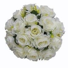 人工ウェディングバラの花、白保持花束フルール artificielle 手作りサテンロマンチックな純粋なブライダルブーケ FW2019A