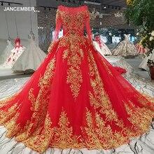 LS32890 vestido de noche de encaje dorado rojo o cuello de manga larga con cordones de nuevo vestido brillante para el banquete de boda con tren largo de china