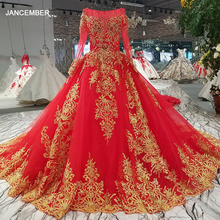 Robe de soirée avec dentelle dorée et avec longue traîne, rouge, col rond, manches longues, dos brillant, pour mariage, LS32890, à lacets