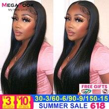 Парик на сетке спереди 13x5x2 T, парик из прямых перуанских человеческих волос 28 дюймов 30 дюймов, парики на сетке 180% , Прозрачный передний парик ...