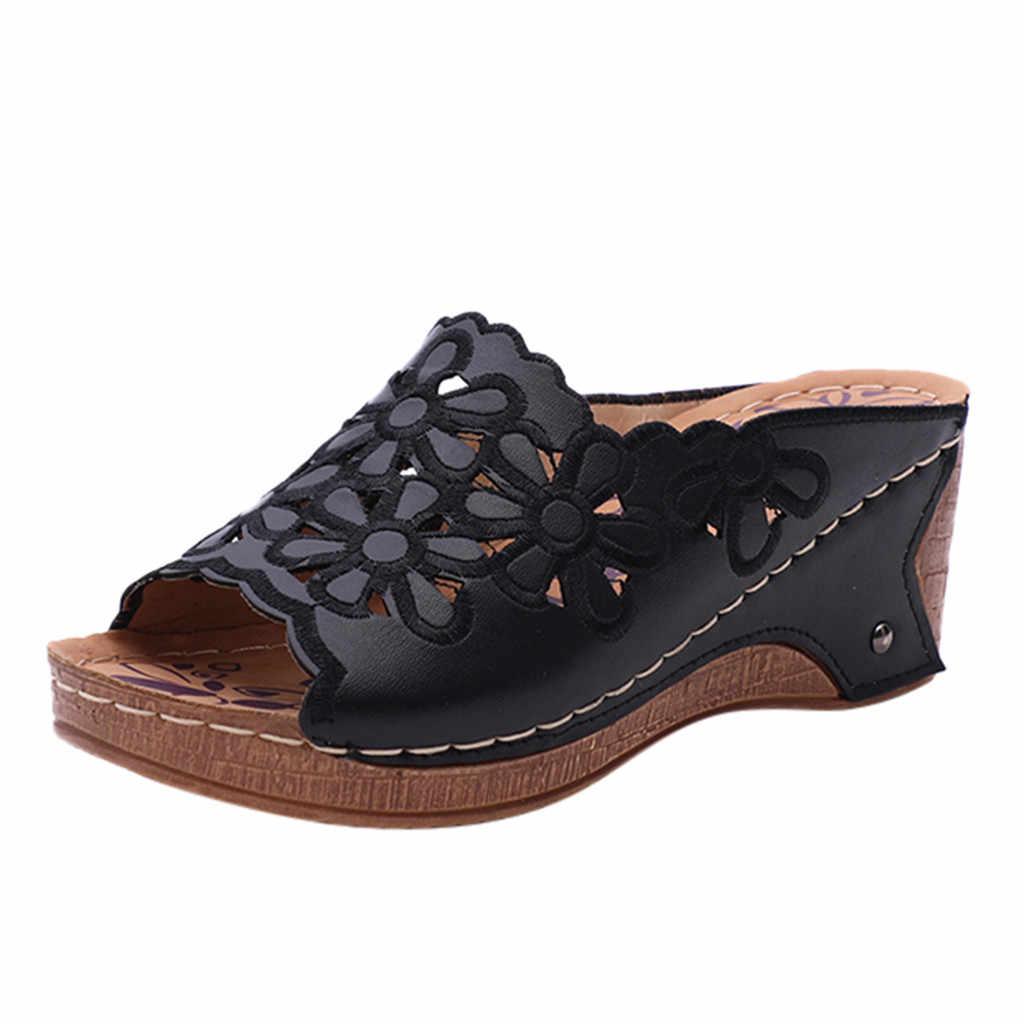 SAGACE 2020 女性のスリッパファッションカジュアル中空アウトスリッパ女性ハイヒール厚いプラットフォーム靴は、フリップフロップスリッパ女性