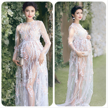 Round Neck Hollow Sexy Lace Mom's Dresses Shooting Costume Evening Dresses Sexy Women's Dresses Trailing Dress round neck lace panel shift dress
