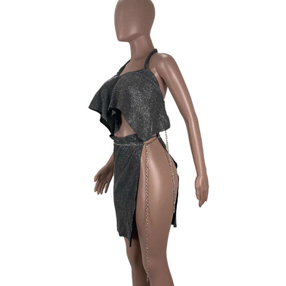 セクシーなパーティー誕生日クラブ衣装グリッターツーピーススカートセット女性ホルター背中トップ + サイドスプリットチェーンミニスカートスーツ