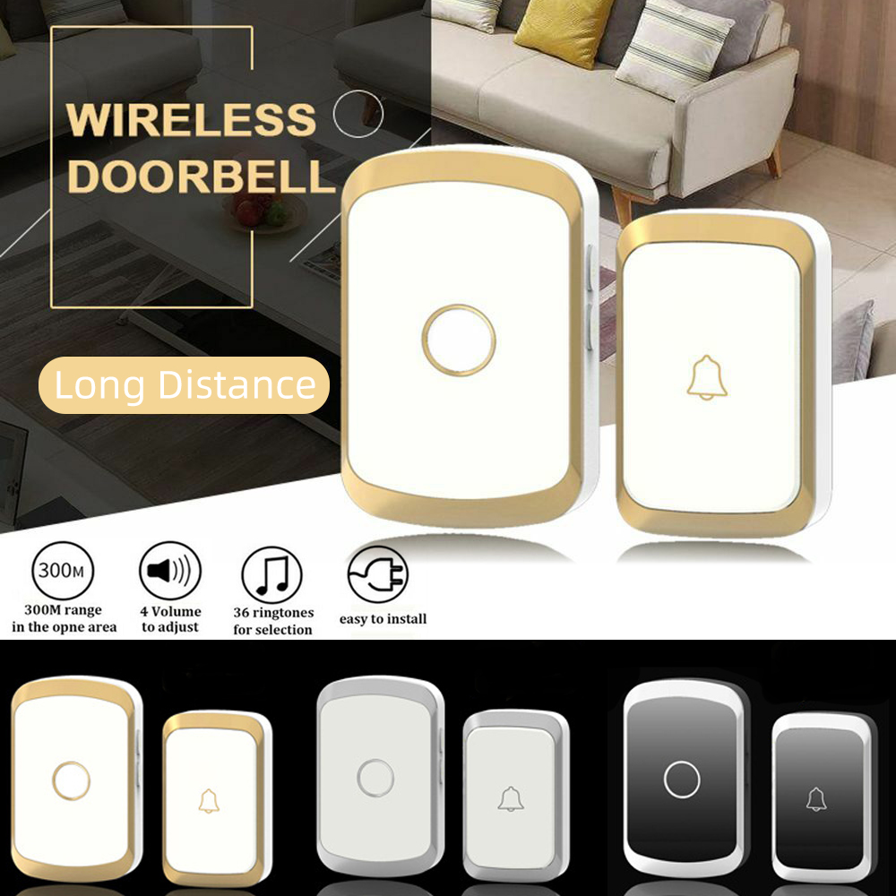 Home Security Wireless Waterproof Doorbell Kit AC 100 240V 300M Range Cordless Door Bell With 36 Chimes UK Plug For Home Office