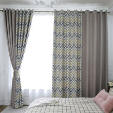 Fashion patchwork style yellow wavy lines window curtains grey