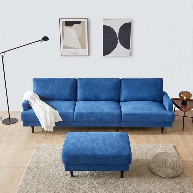 "[2021]Modern fabric sofa L shape, 3 seater with ottoman-104"" Blue 4"