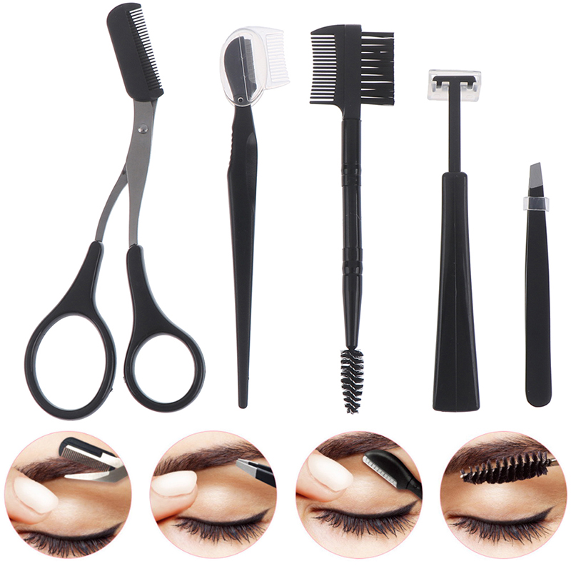5 Pcs/Set New Eyebrows Clip Eyebrow Trimmer Scissors Eyebrow Shaping Knife Cosmetic Beautiful Makeup Beauty Accessories Tools