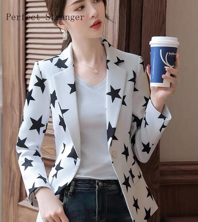 2020 Spring New Arrival Leisure Turn-down Collar Stars Printed Long Sleeve Women Suit Coat  Plus Size M-3XL