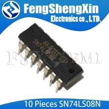 10 ชิ้น/ล็อต SN74LS08N SN74LS08 74LS08N 74LS08 SN74LS08 HD74LS08P สี่ 2 INPUT POSITIVE และประตู IC DIP 14