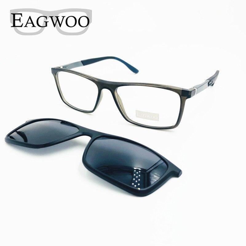 Magnet Eyeglasses Full Rim Optical Frame Prescription Spectacle Men Myopia Eye Glasses Sunglasses With Spring Temple 80102
