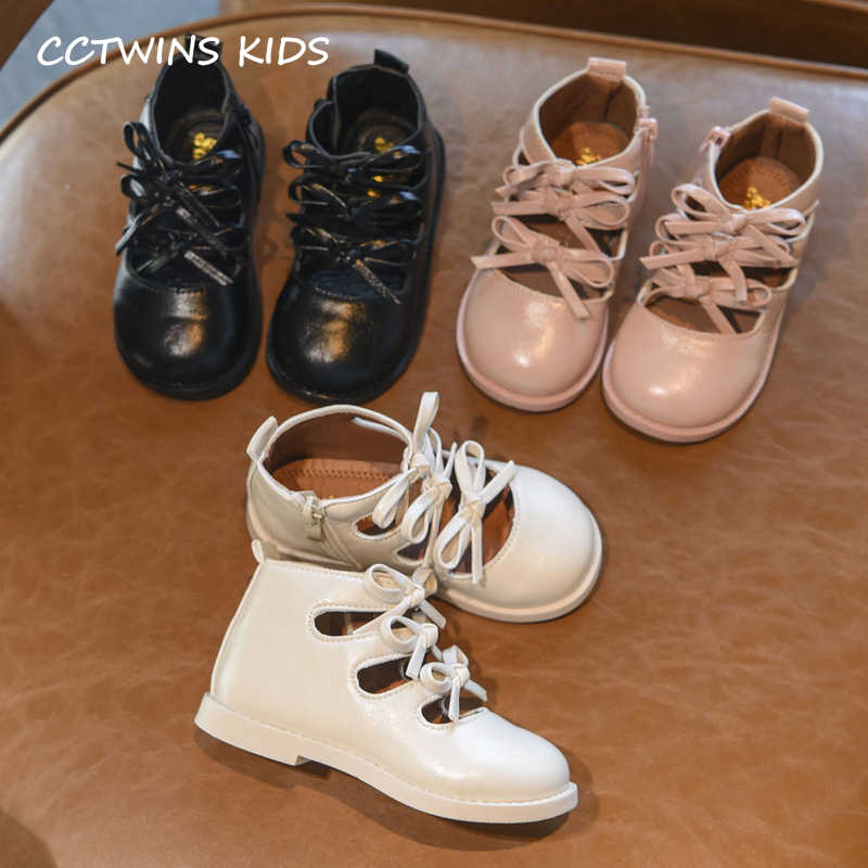 Çocuk Ayakkabı 2019 Sonbahar Çocuklar Yeni Moda Çizmeler Bebek Kız Tatlı Papyon Marka Pembe Roman yarım çizmeler Toddler Pu Deri Elbise ayakkabı