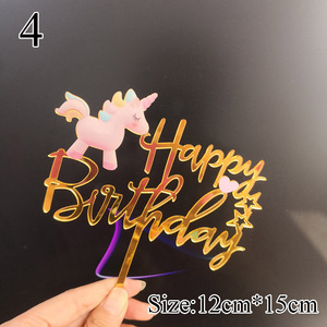 Image 4 - Unicorn Acrylic Happy Birthday Cake Topper For Baby Shower Cupcake Toppers Cake Topper Wedding Personalized Cake Decoration Flag