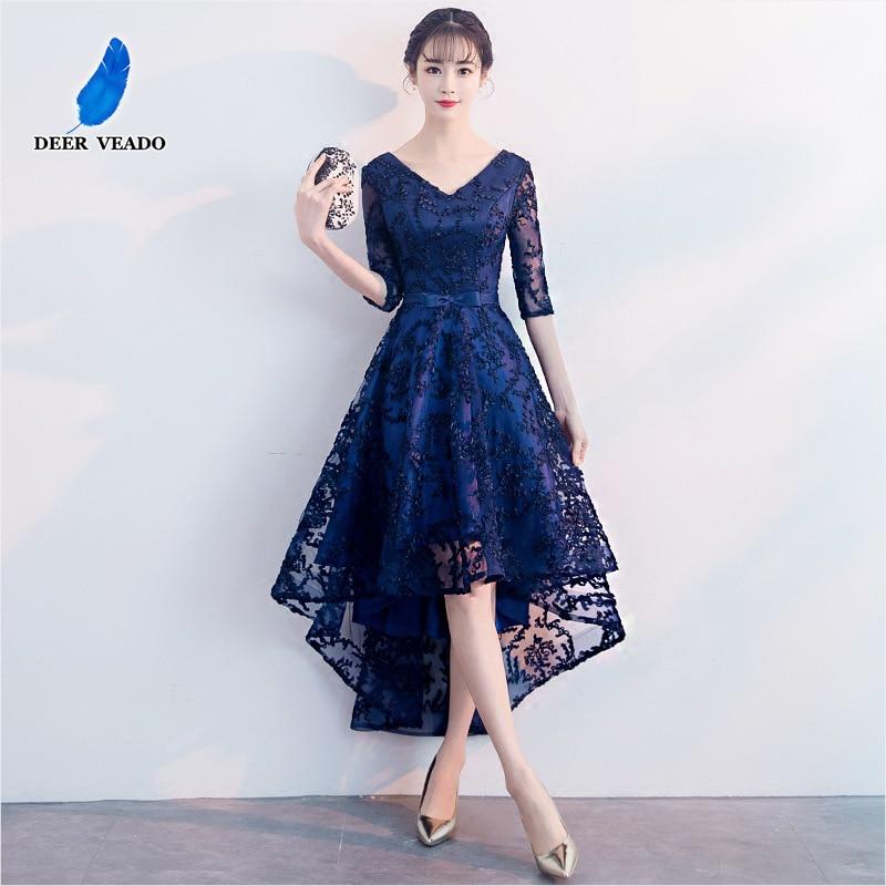 DEERVEADO CS101 A Line V Neck High Low Short Prom Dresses 2019 Lace Up Back Adjustable Prom Gown Party Dresses Vestido De Festa