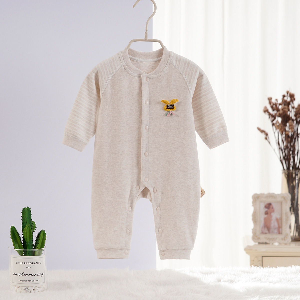 Wright Bear Baby Onesie Pure Cotton Spring And Autumn Newborns Clothes Men And Women Baby Rompers Crawling Clothes 0-3 A June 12