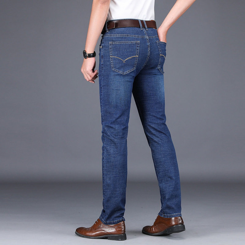 New Men 39 s Jeans cotton Slim Trousers Embroidery Small Straight Casual Jeans Men Stretch Comfortable Large Size in Jeans from Men 39 s Clothing
